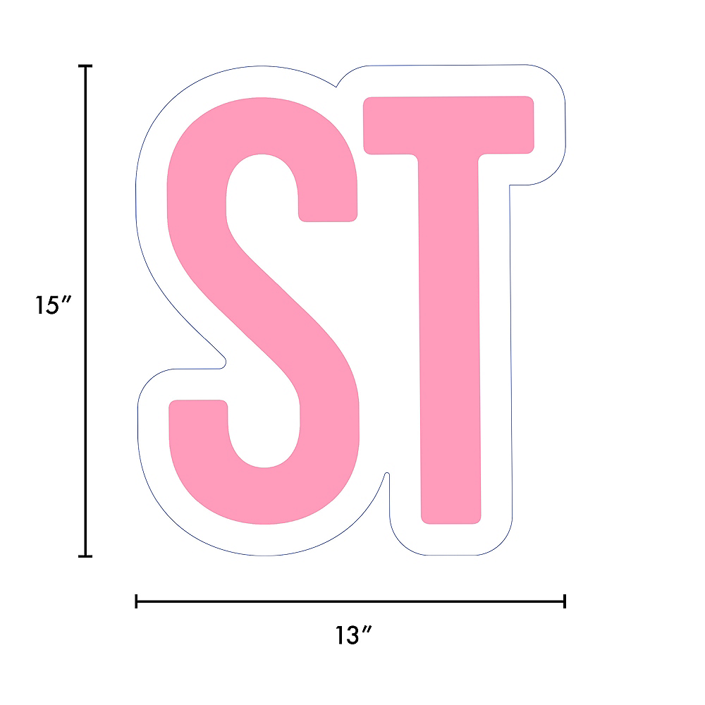 Giant Pink Corrugated Plastic Ordinal Indicator (ST) Yard Sign, 15in Image #2