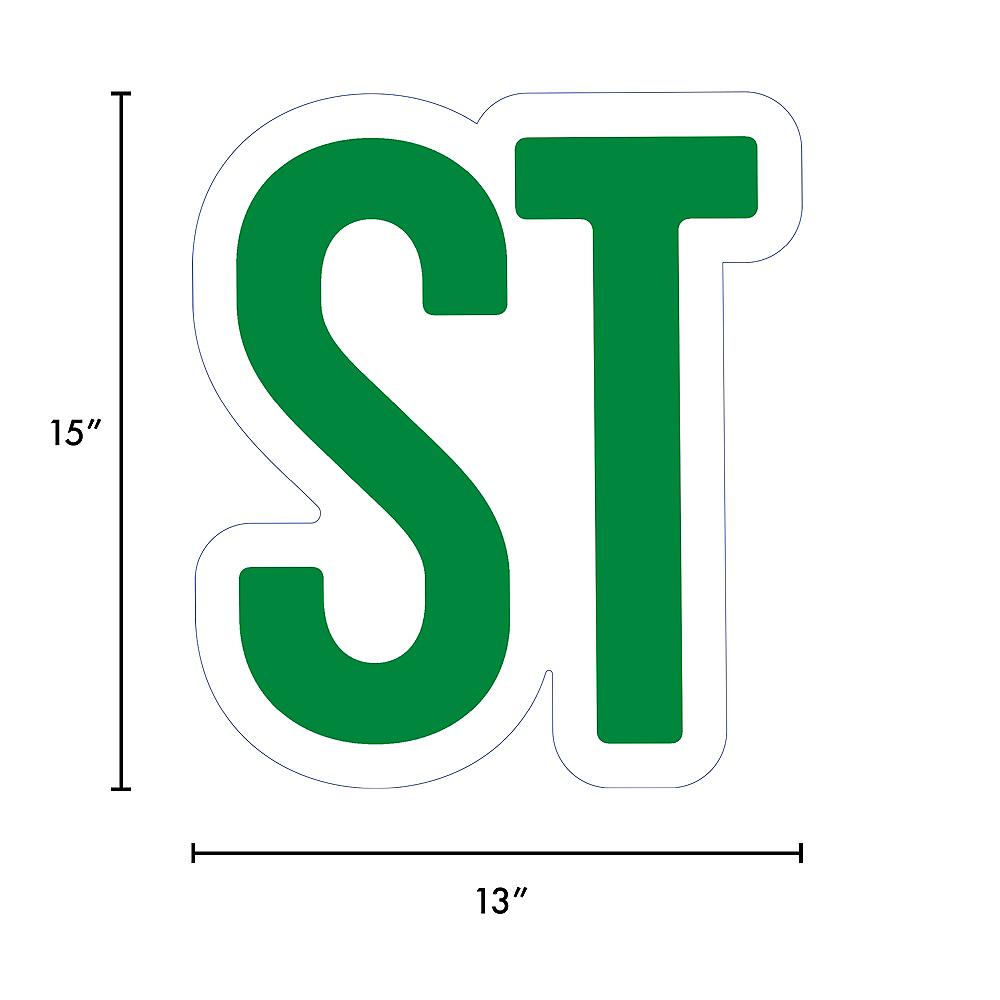 Giant Festive Green Corrugated Plastic Ordinal Indicator (ST) Yard Sign, 15in Image #2