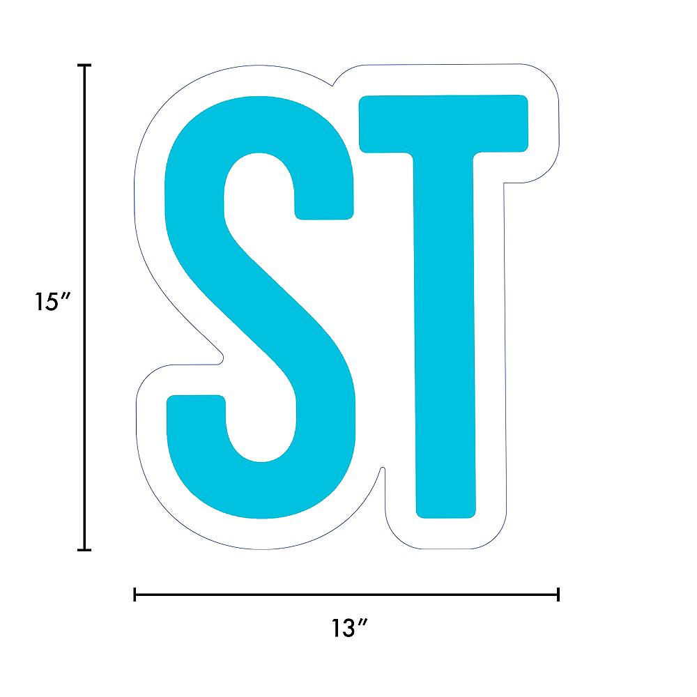 Giant Caribbean Blue Corrugated Plastic Ordinal Indicator (ST) Yard Sign, 15in Image #2