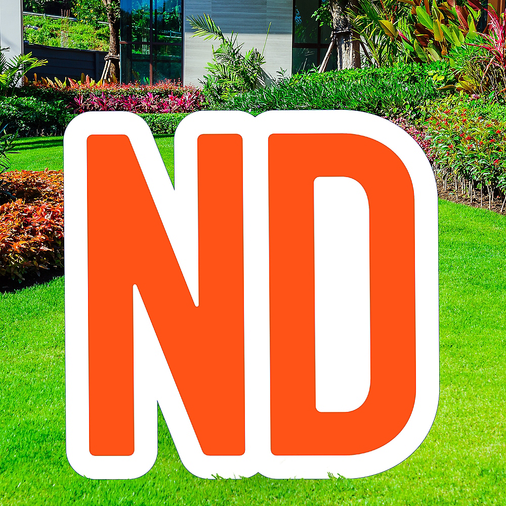 Giant Orange Corrugated Plastic Ordinal Indicator (ND) Yard Sign, 15in Image #1