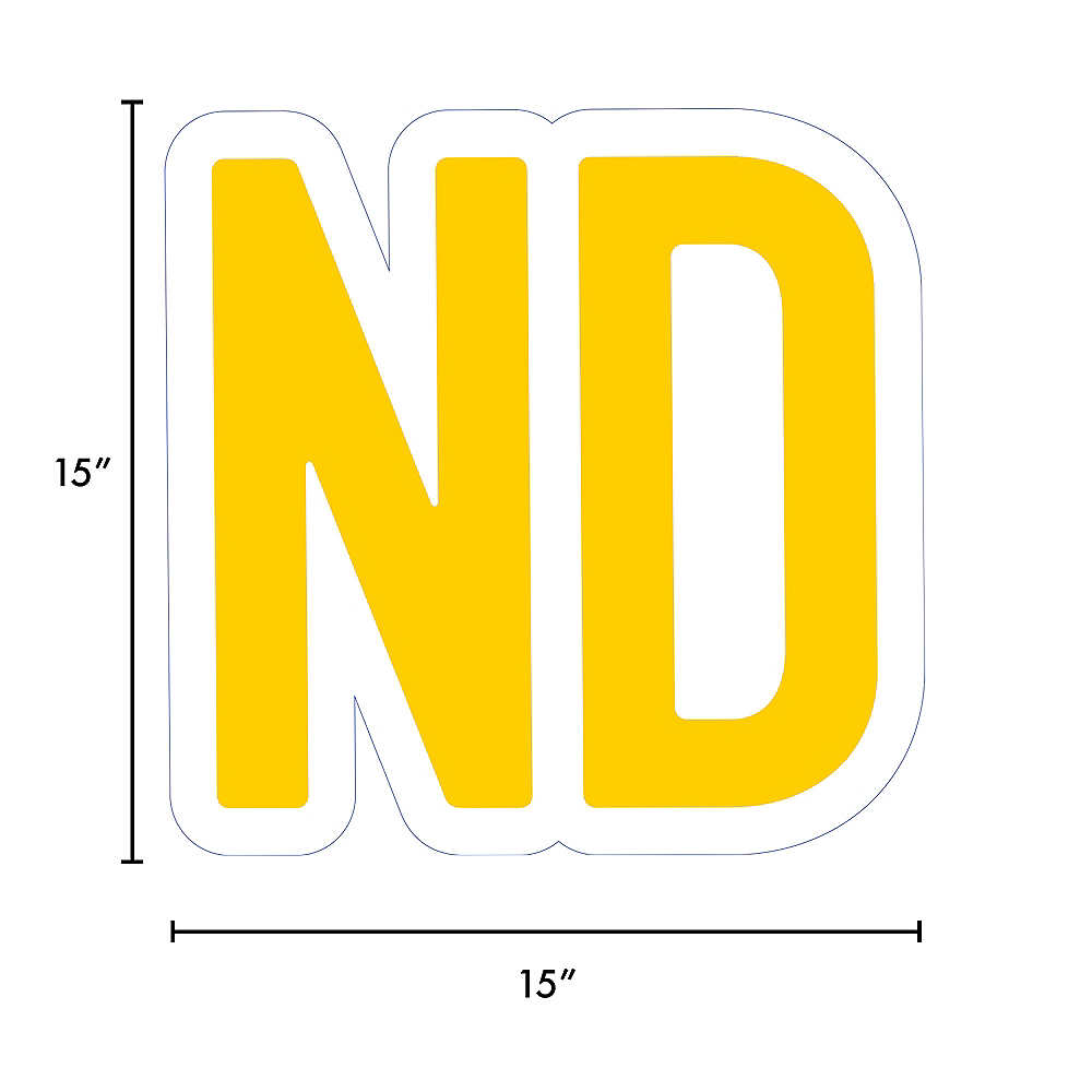Giant Yellow Corrugated Plastic Ordinal Indicator (ND) Yard Sign, 15in Image #2