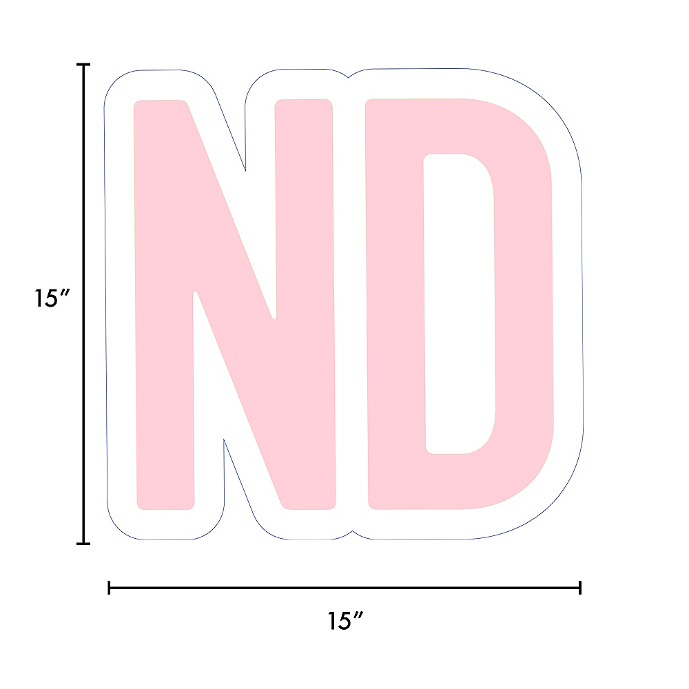 Giant Blush Pink Corrugated Plastic Ordinal Indicator (ND) Yard Sign, 15in Image #2