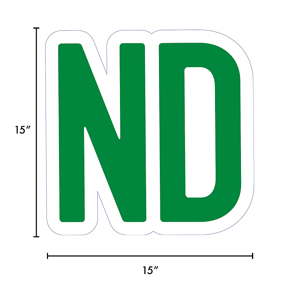 Giant Festive Green Corrugated Plastic Ordinal Indicator (ND) Yard Sign, 15in Image #2