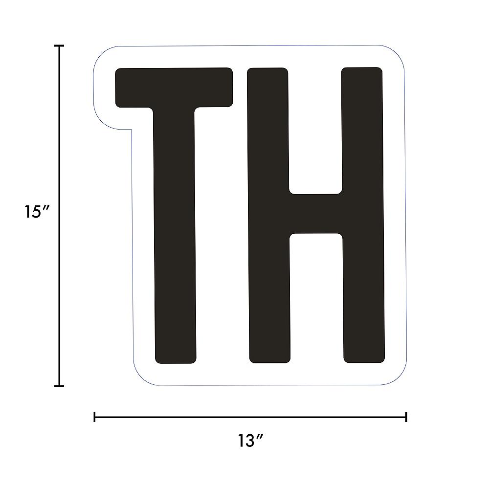 Giant Black Corrugated Plastic Ordinal Indicator (TH) Yard Sign, 15in Image #2