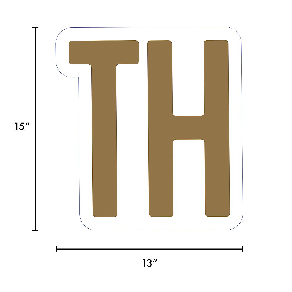 Giant Gold Corrugated Plastic Ordinal Indicator (TH) Yard Sign, 15in Image #2