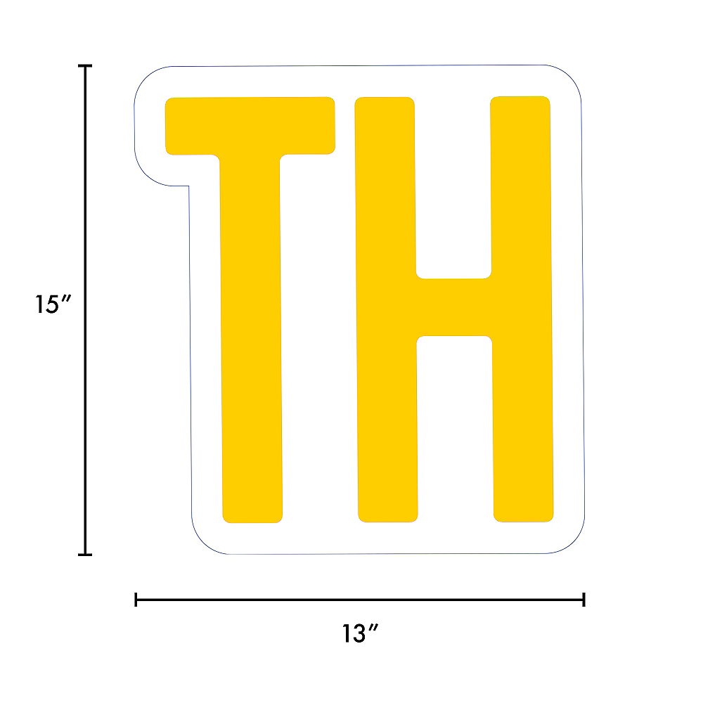 Giant Yellow Corrugated Plastic Ordinal Indicator (TH) Yard Sign, 15in Image #2