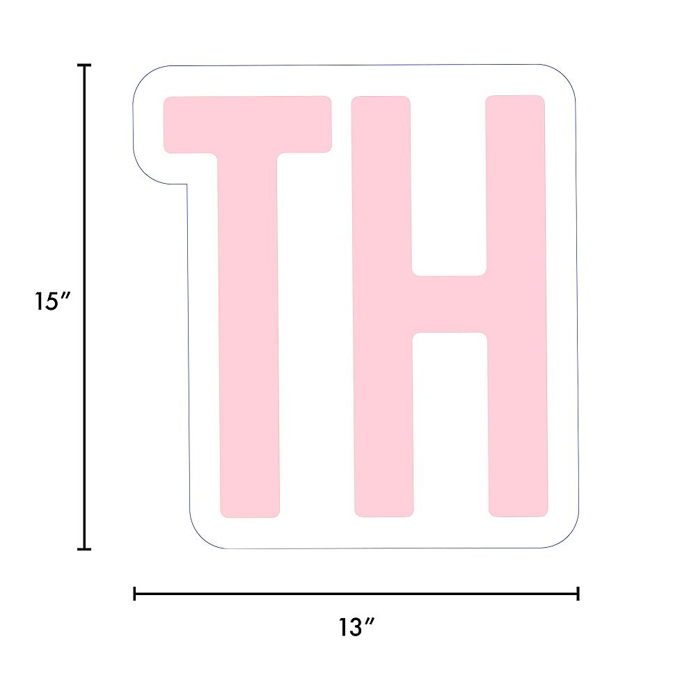 Giant Blush Pink Corrugated Plastic Ordinal Indicator (TH) Yard Sign, 15in Image #2