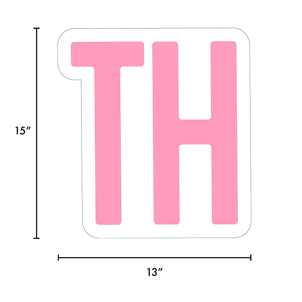 Giant Pink Corrugated Plastic Ordinal Indicator (TH) Yard Sign, 15in Image #2