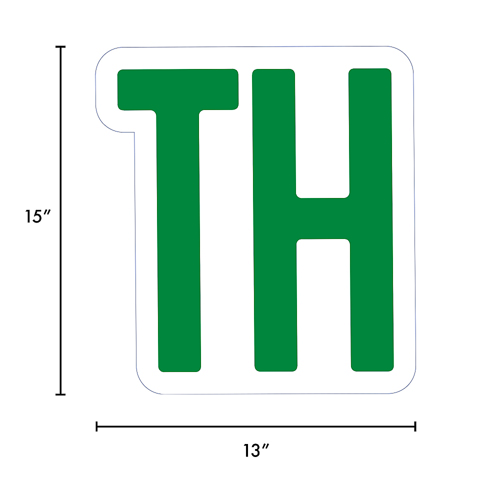 Giant Festive Green Corrugated Plastic Ordinal Indicator (TH) Yard Sign, 15in Image #2
