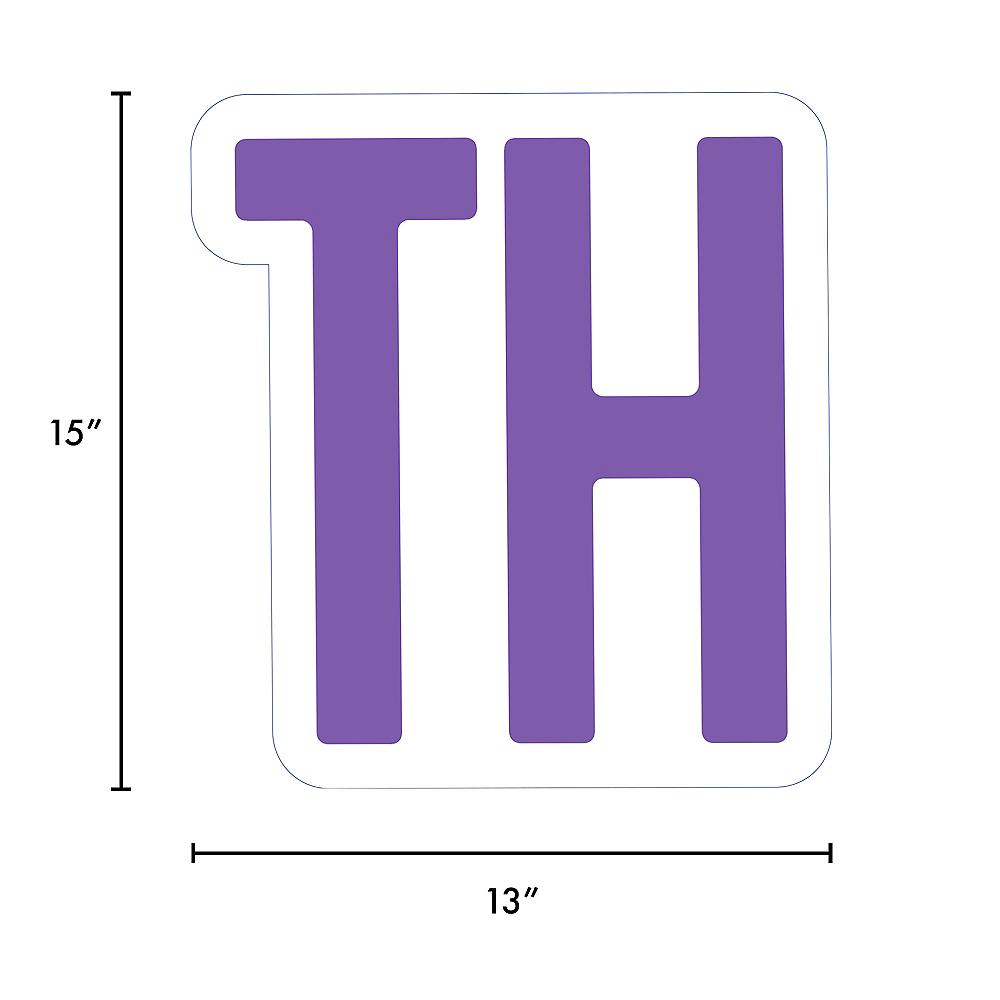 Giant Purple Corrugated Plastic Ordinal Indicator (TH) Yard Sign, 15in Image #2