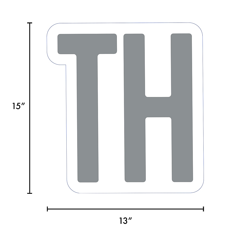 Giant Silver Corrugated Plastic Ordinal Indicator (TH) Yard Sign, 15in Image #2