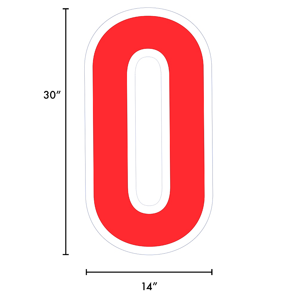 Giant Red Corrugated Plastic Number (0) Yard Sign, 30in Image #2