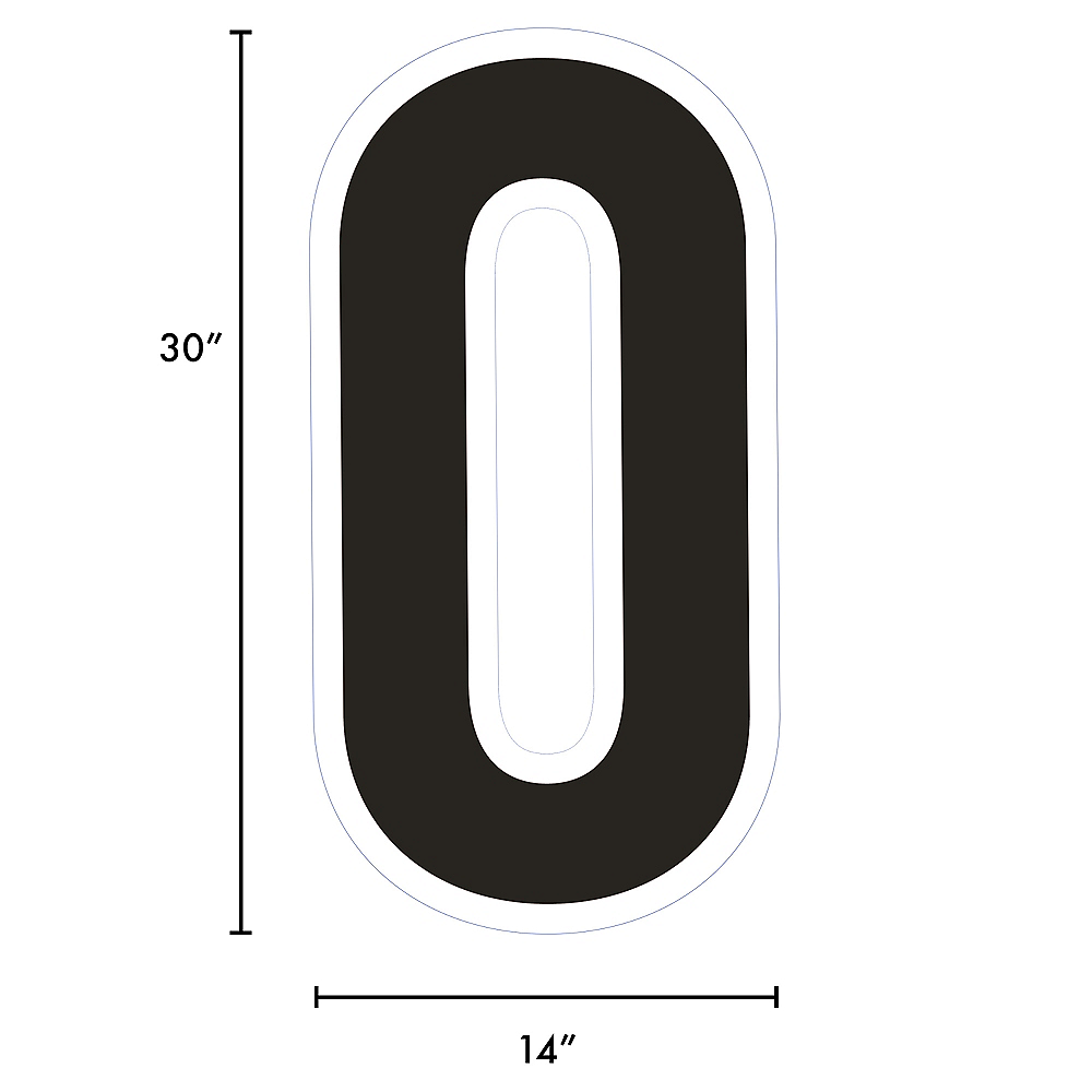 Giant Black Corrugated Plastic Number (0) Yard Sign, 30in Image #2