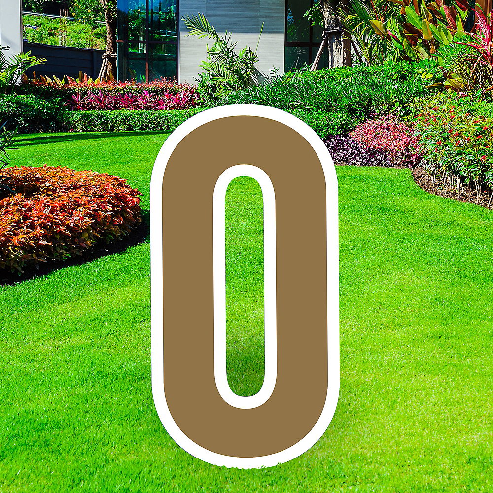 Giant Gold Corrugated Plastic Number (0) Yard Sign, 30in Image #1