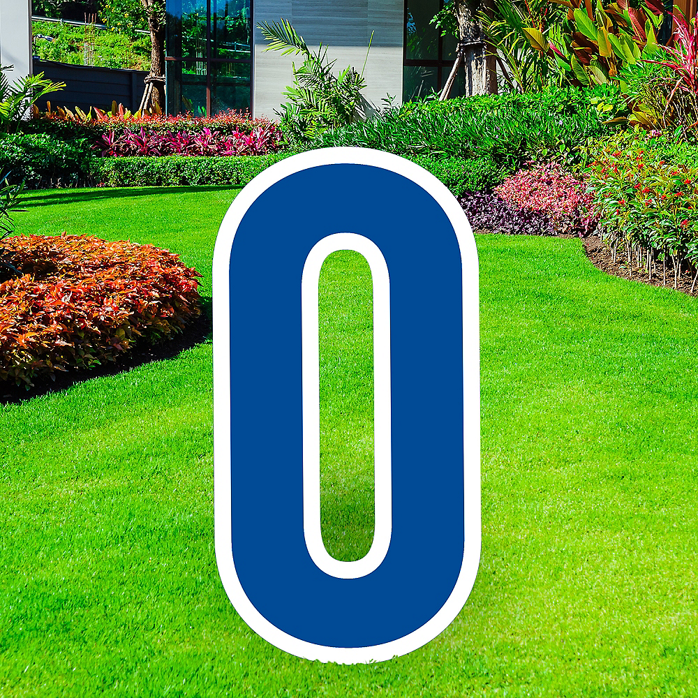 Giant Royal Blue Corrugated Plastic Number (0) Yard Sign, 30in Image #1