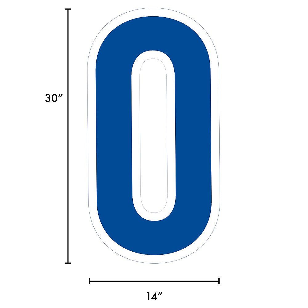Giant Royal Blue Corrugated Plastic Number (0) Yard Sign, 30in Image #2
