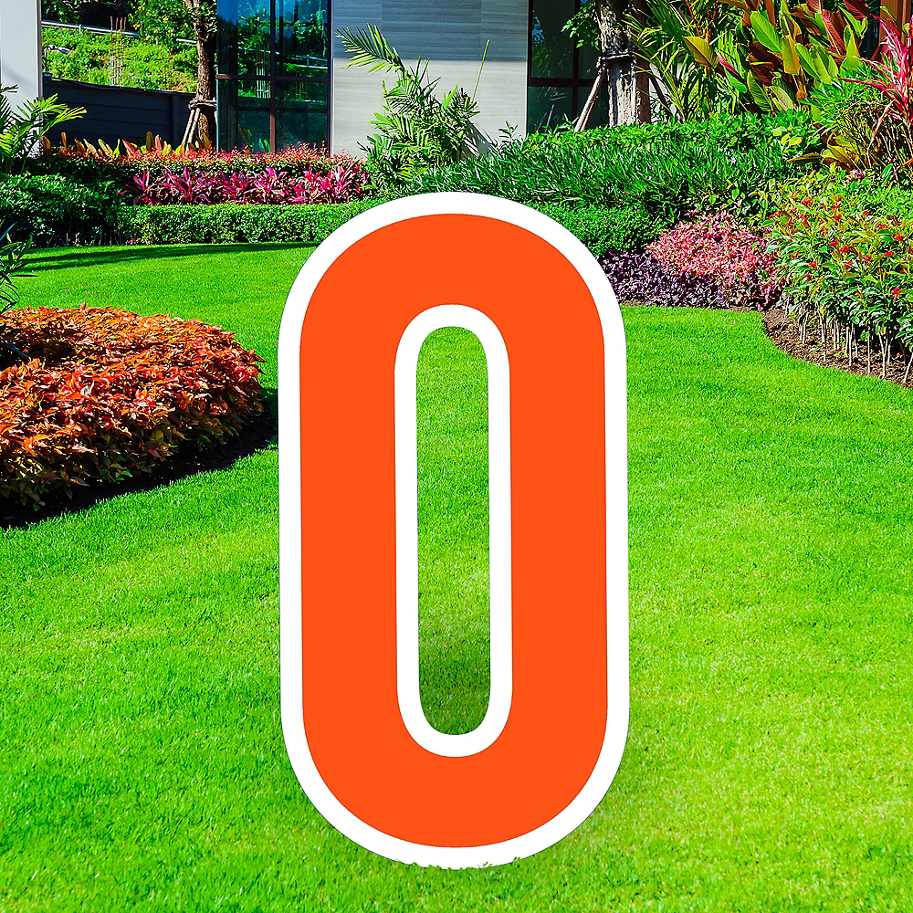 Giant Orange Corrugated Plastic Number (0) Yard Sign, 30in Image #1