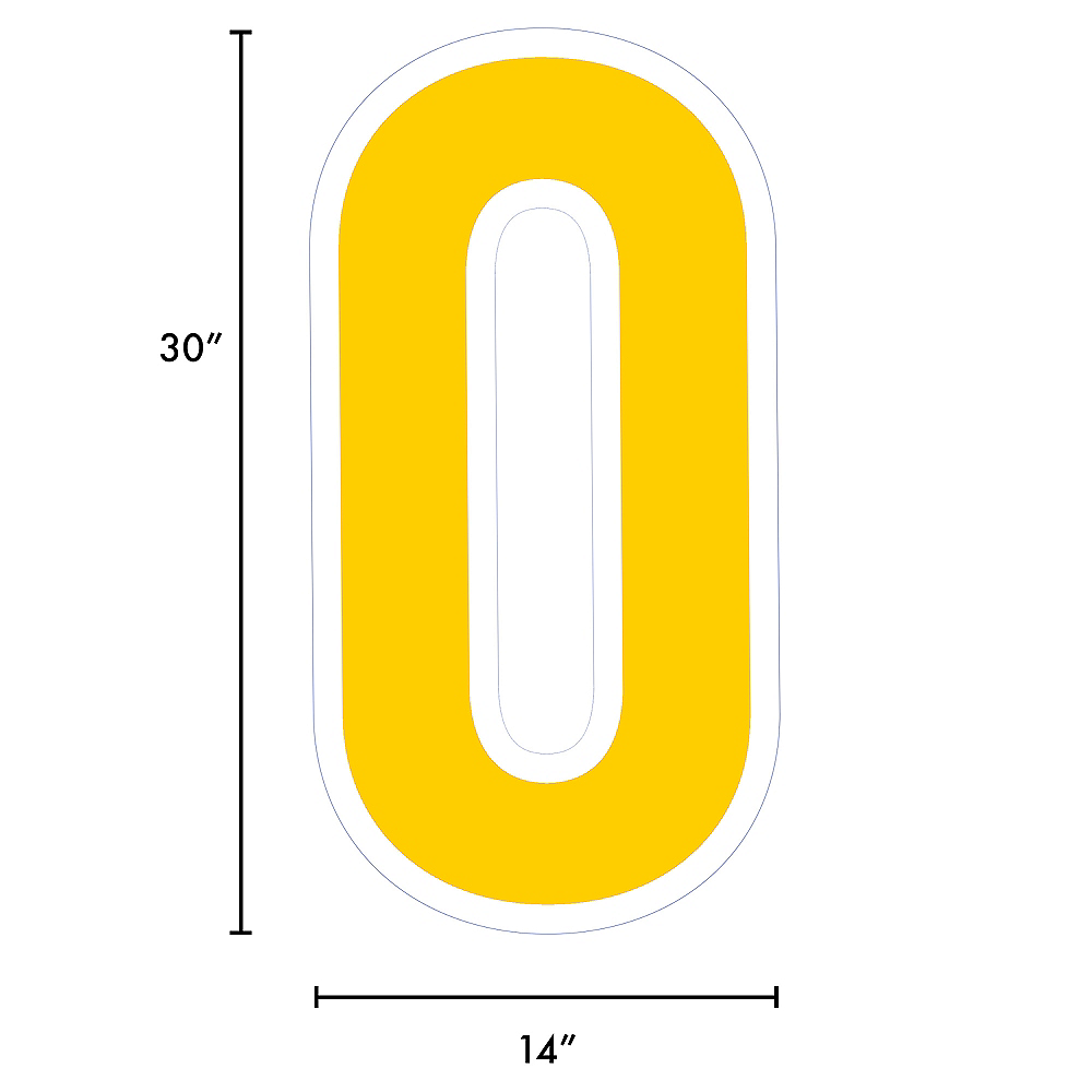 Giant Yellow Corrugated Plastic Number (0) Yard Sign, 30in Image #2