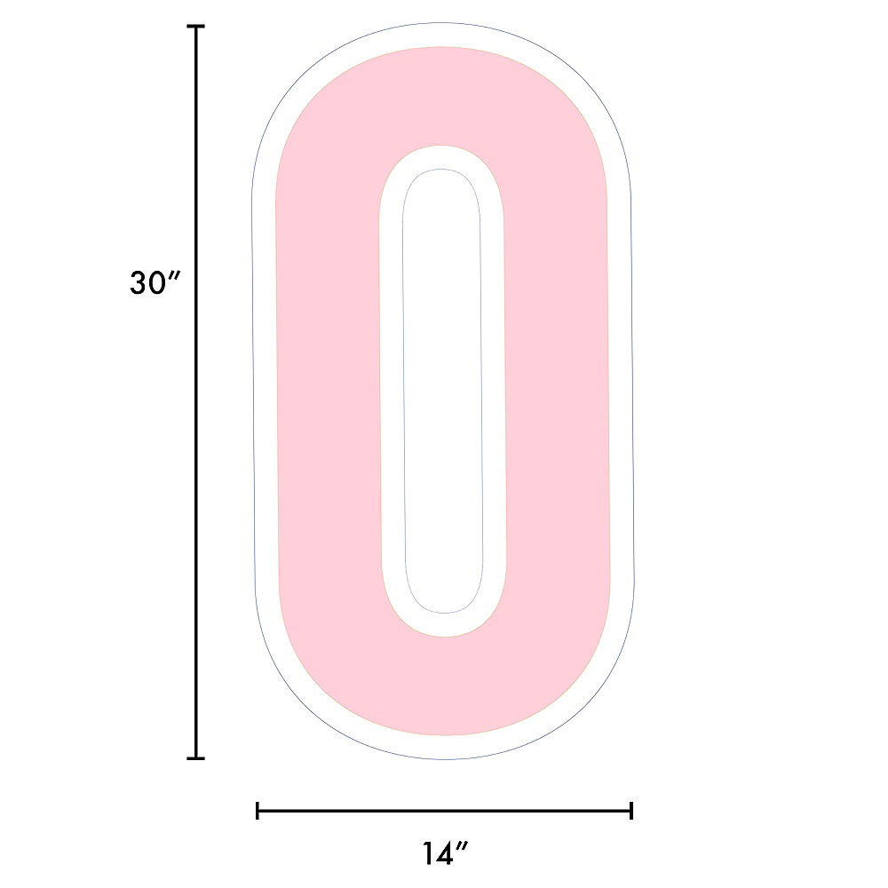 Nav Item for Giant Blush Pink Corrugated Plastic Number (0) Yard Sign, 30in Image #2