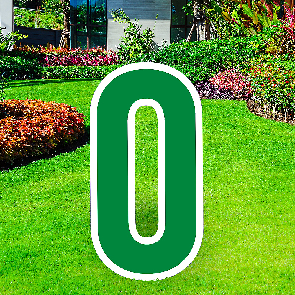 Giant Festive Green Corrugated Plastic Number (0) Yard Sign, 30in Image #1