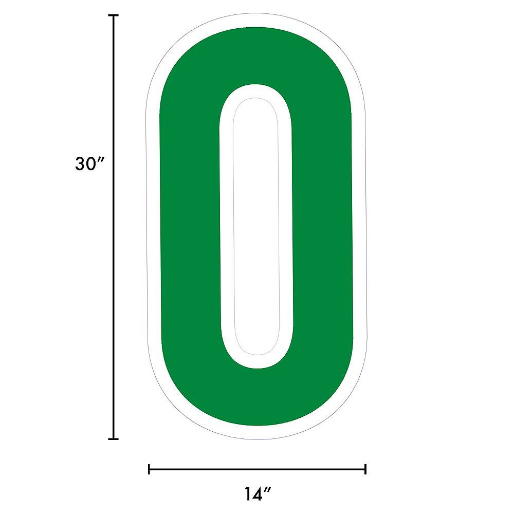 Giant Festive Green Corrugated Plastic Number (0) Yard Sign, 30in Image #2