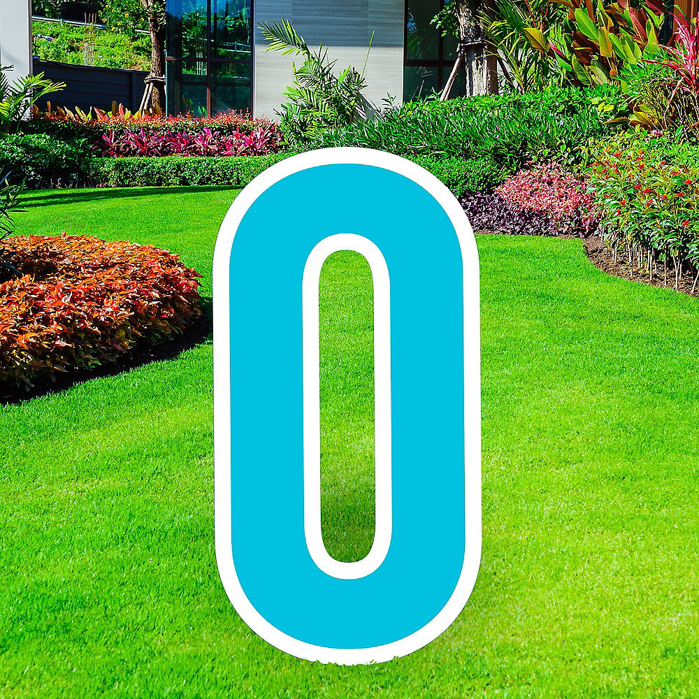 Giant Caribbean Blue Corrugated Plastic Number (0) Yard Sign, 30in Image #1