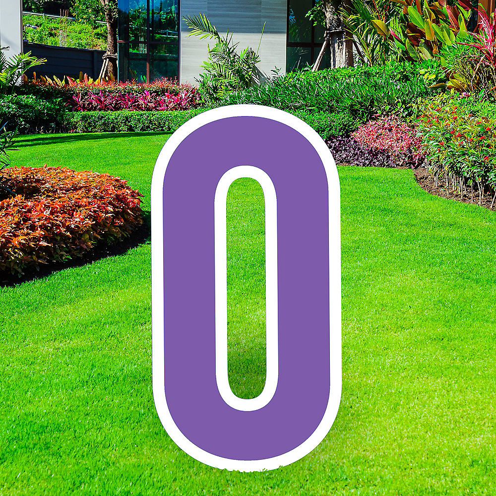 Giant Purple Corrugated Plastic Number (0) Yard Sign, 30in Image #1