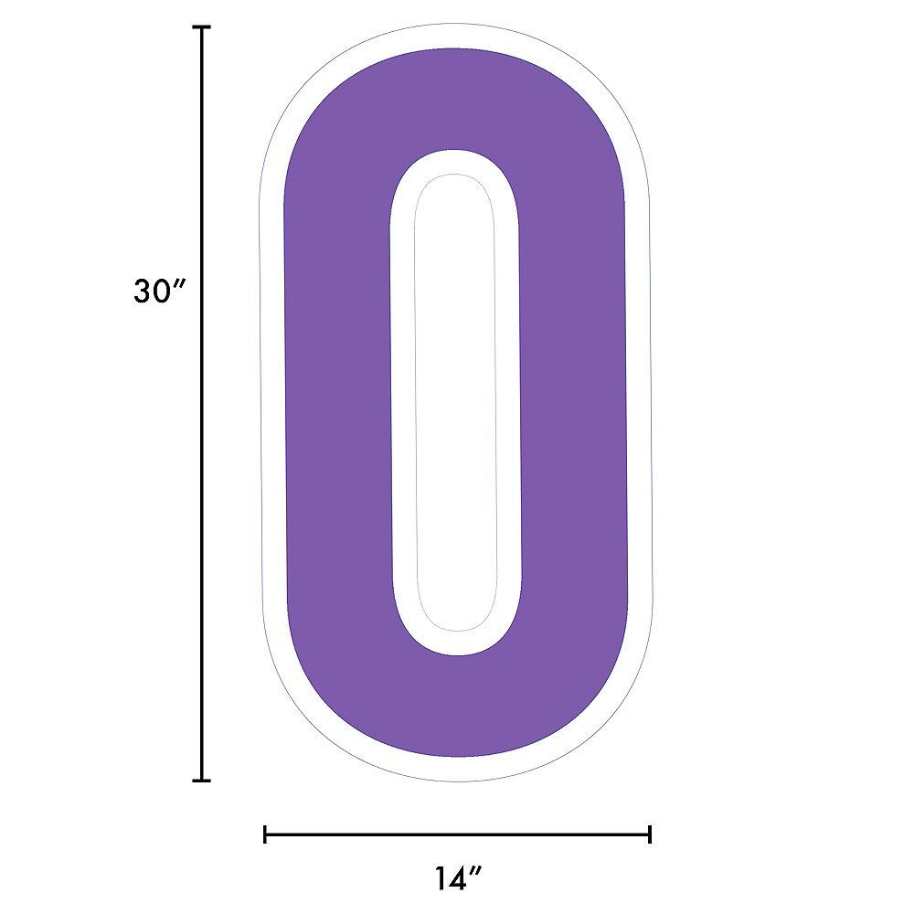Giant Purple Corrugated Plastic Number (0) Yard Sign, 30in Image #2