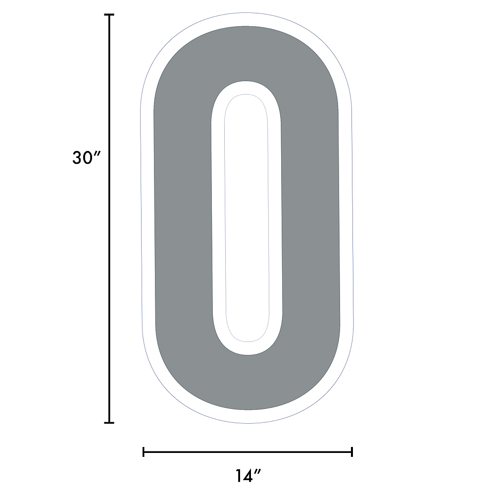 Giant Silver Corrugated Plastic Number (0) Yard Sign, 30in Image #2