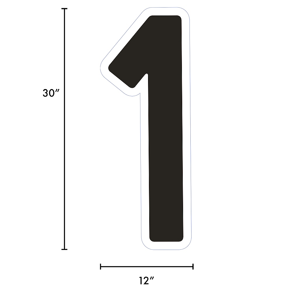 Giant Black Corrugated Plastic Number (1) Yard Sign, 30in Image #2