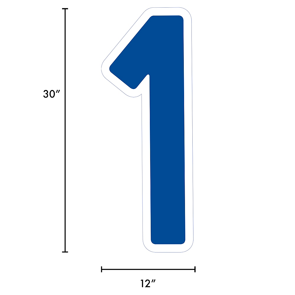 Giant Royal Blue Corrugated Plastic Number (1) Yard Sign, 30in Image #2