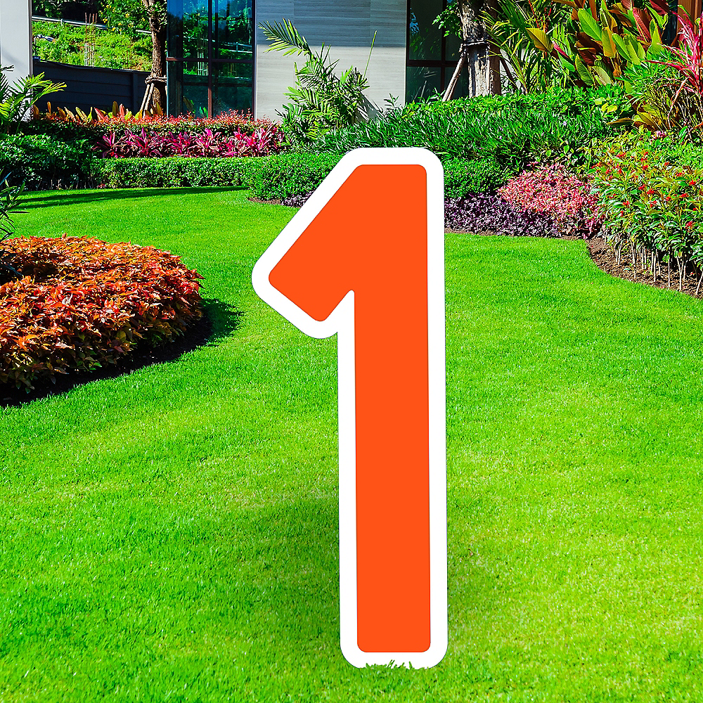 Giant Orange Corrugated Plastic Number (1) Yard Sign, 30in Image #1