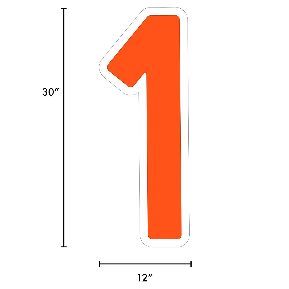 Giant Orange Corrugated Plastic Number (1) Yard Sign, 30in Image #2