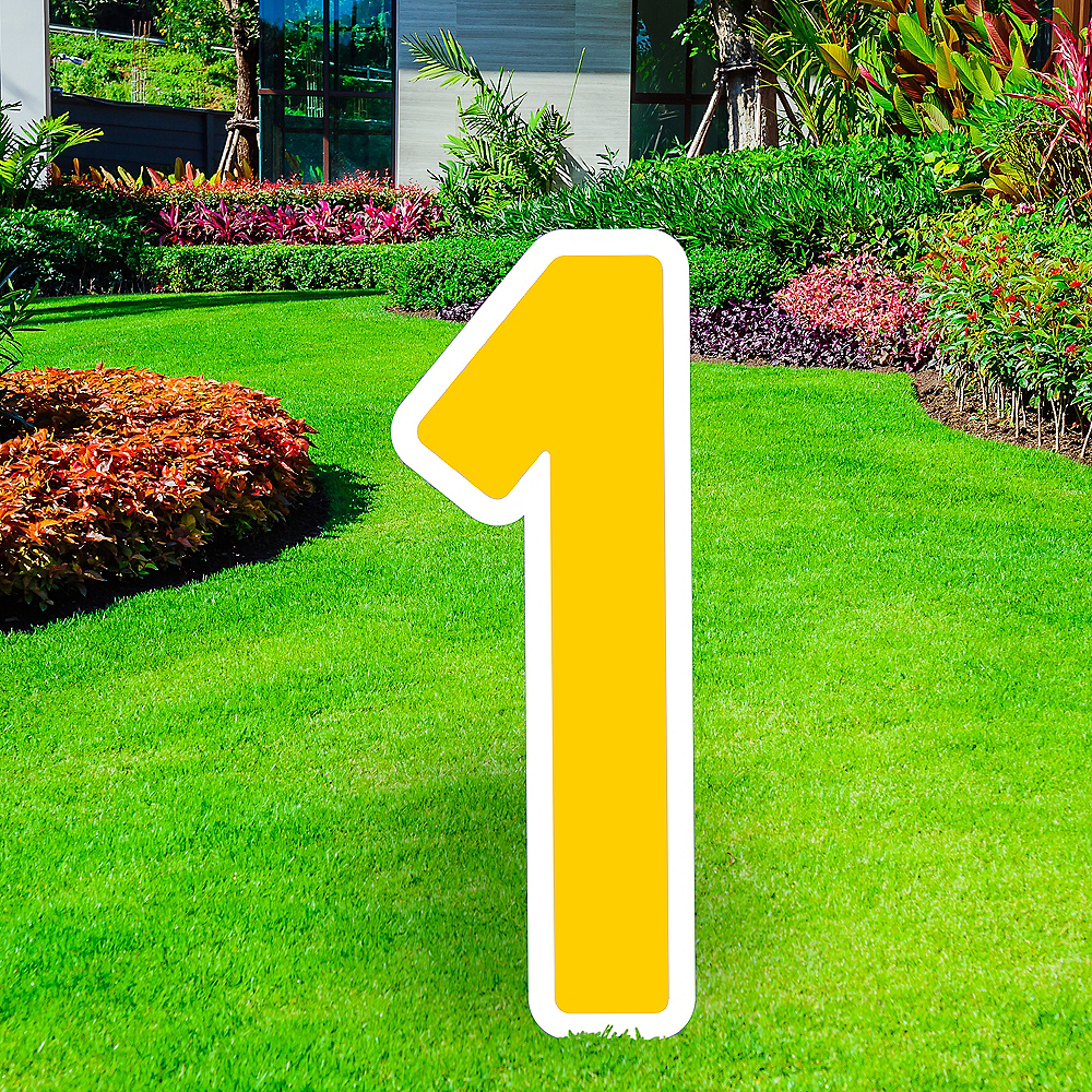Giant Yellow Corrugated Plastic Number (1) Yard Sign, 30in Image #1