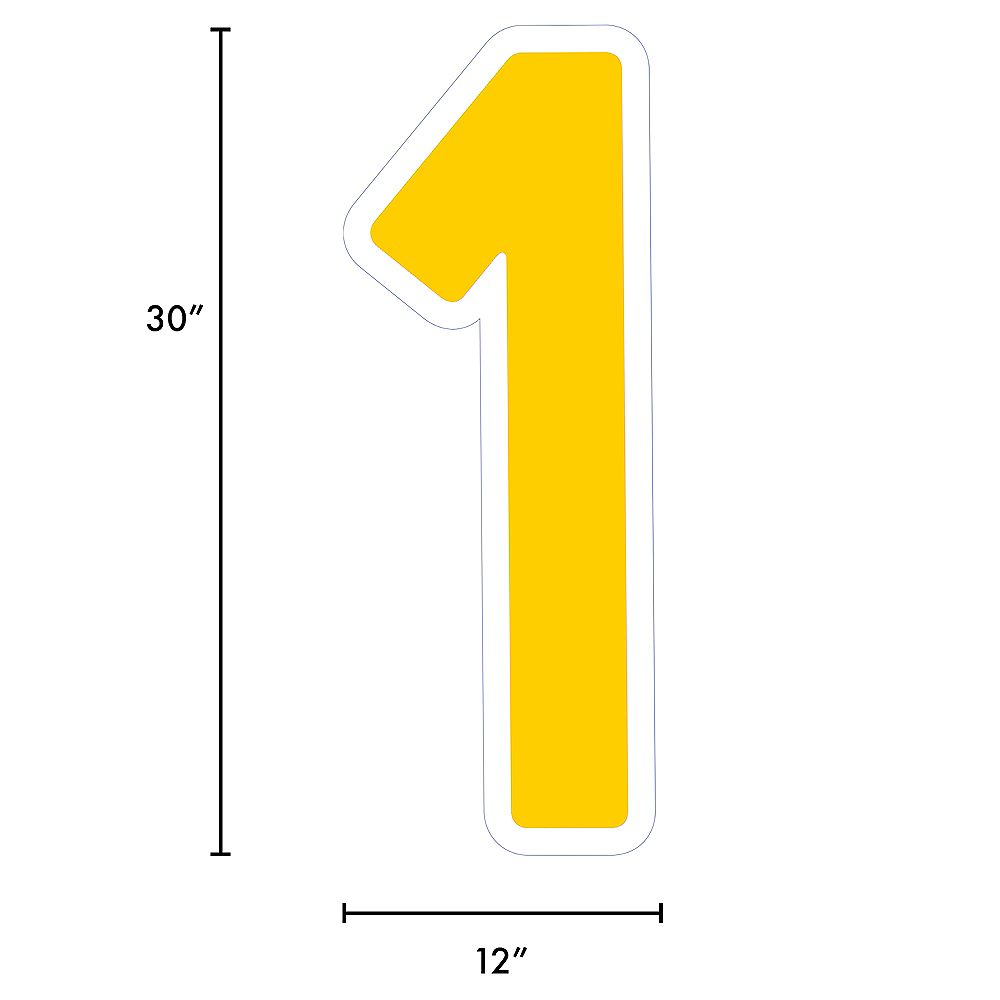 Giant Yellow Corrugated Plastic Number (1) Yard Sign, 30in Image #2