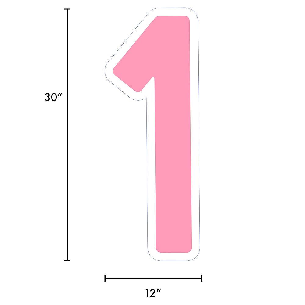Giant Pink Corrugated Plastic Number (1) Yard Sign, 30in Image #2