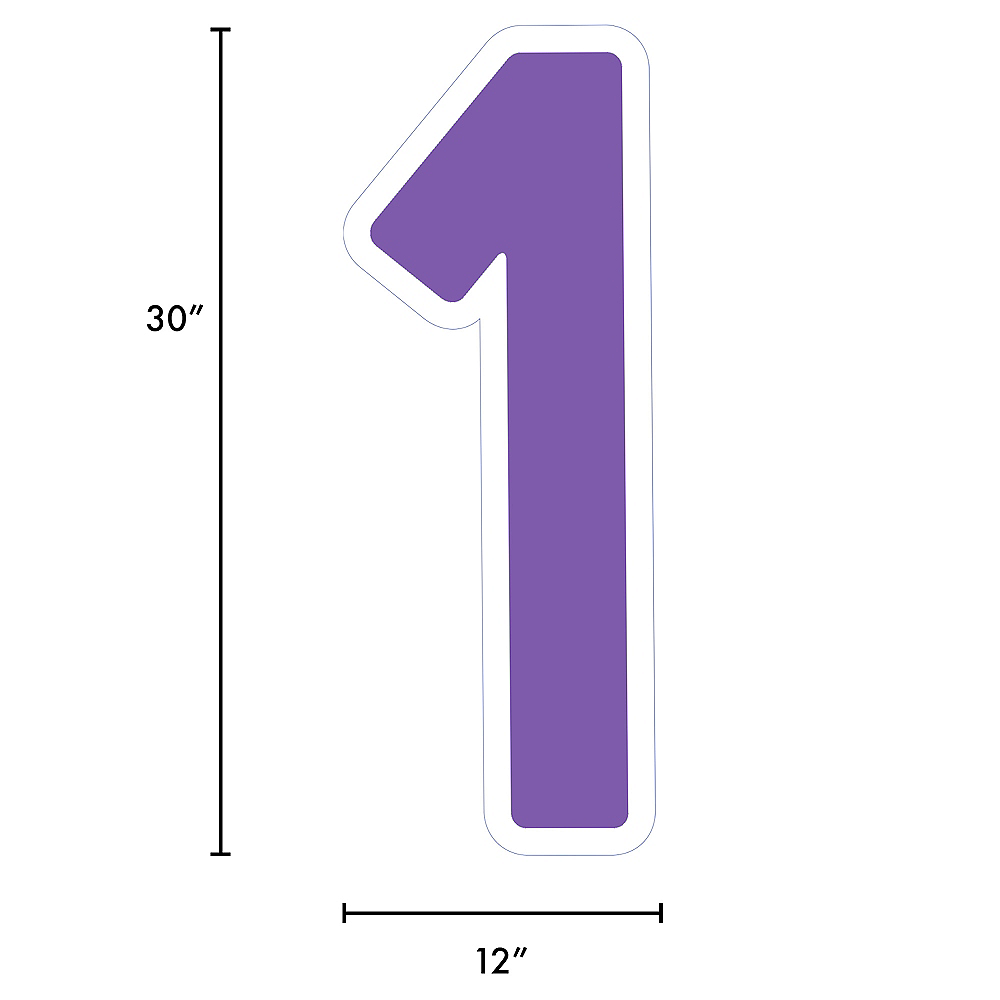 Giant Purple Corrugated Plastic Number (1) Yard Sign, 30in Image #2