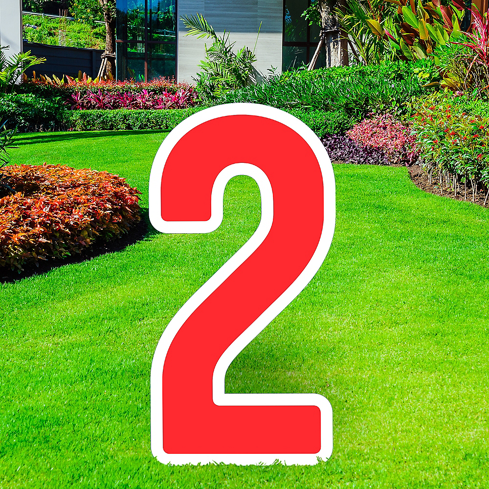 Giant Red Corrugated Plastic Number (2) Yard Sign, 30in Image #1