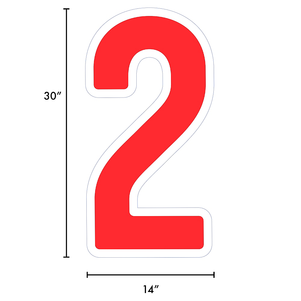 Giant Red Corrugated Plastic Number (2) Yard Sign, 30in Image #2
