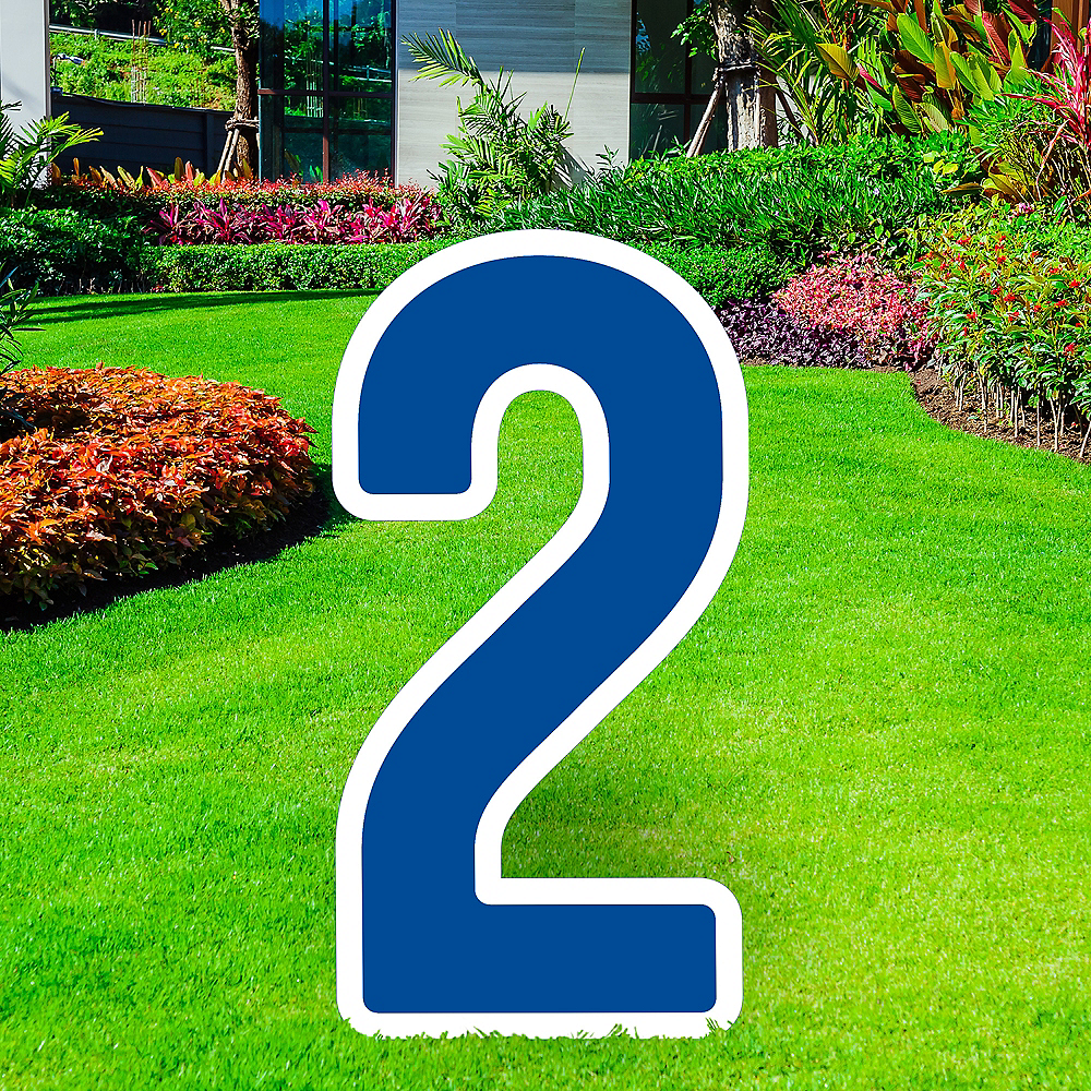 Giant Royal Blue Corrugated Plastic Number (2) Yard Sign, 30in Image #1