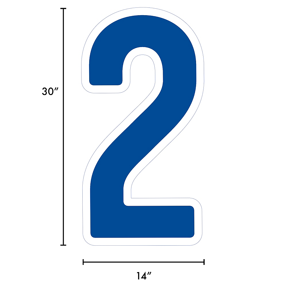 Giant Royal Blue Corrugated Plastic Number (2) Yard Sign, 30in Image #2