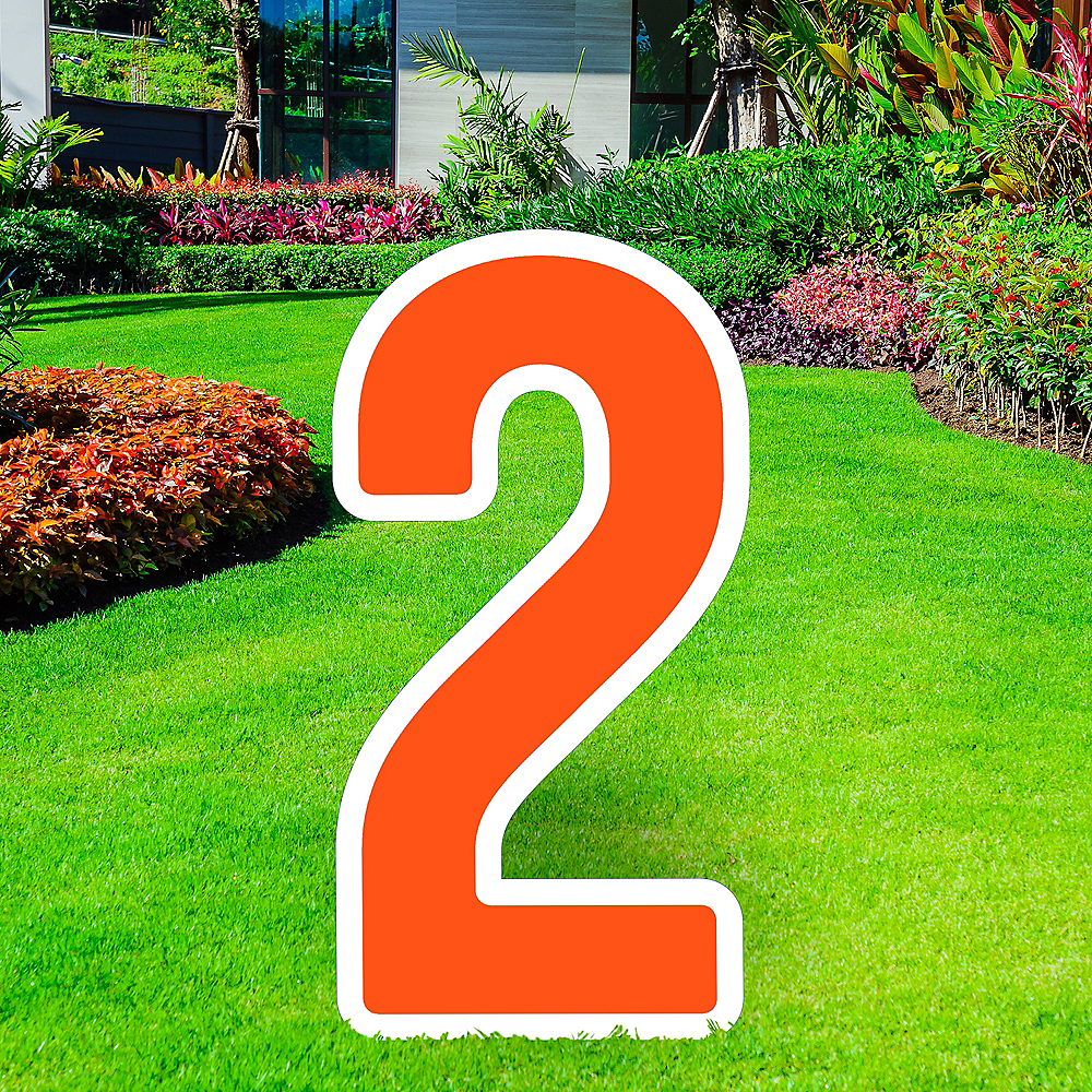 Giant Orange Corrugated Plastic Number (2) Yard Sign, 30in Image #1