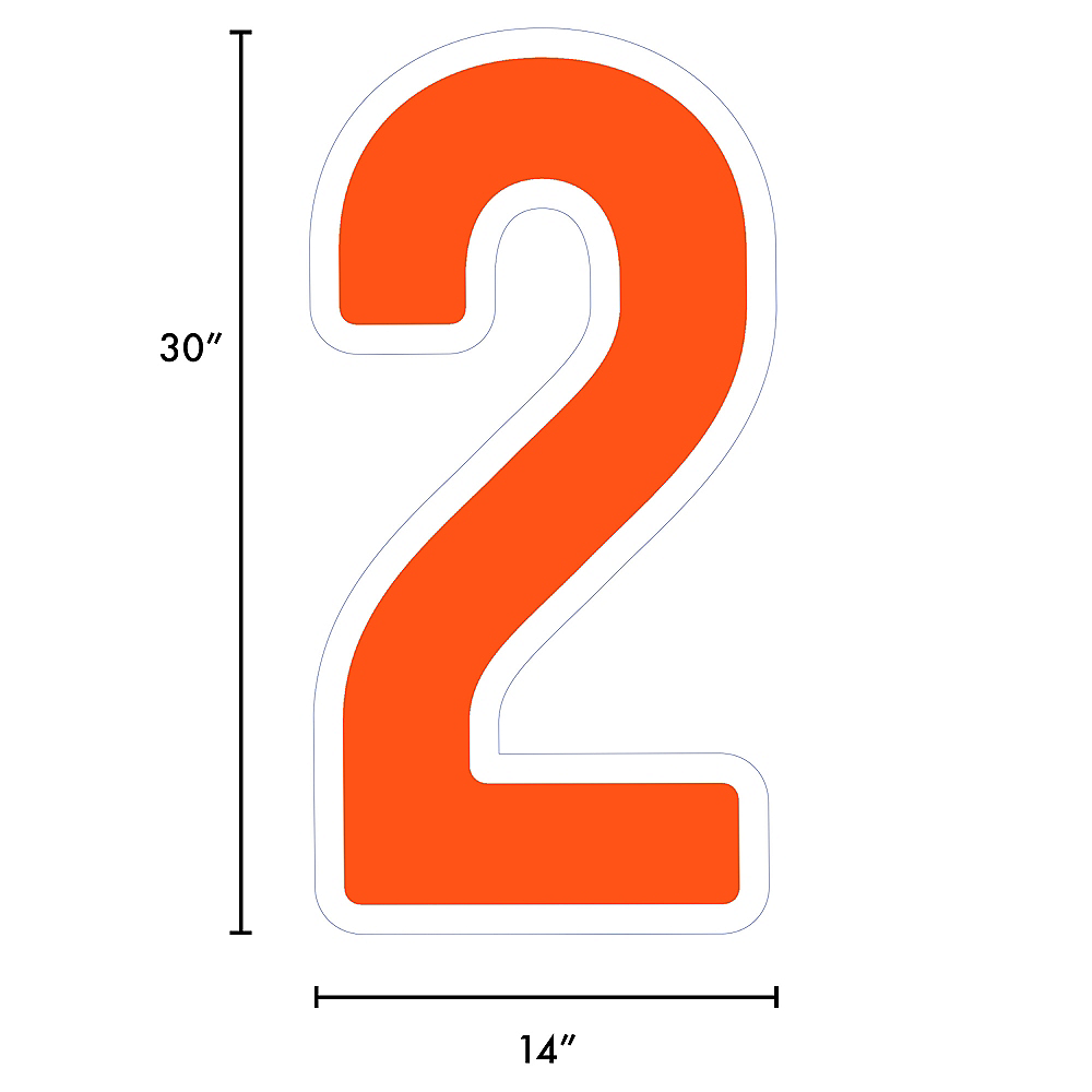 Giant Orange Corrugated Plastic Number (2) Yard Sign, 30in Image #2