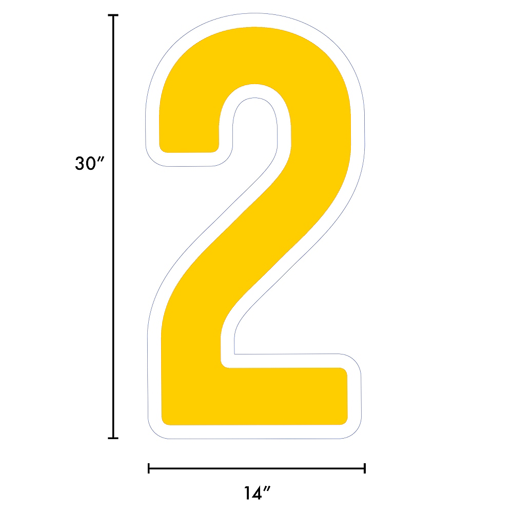 Giant Yellow Corrugated Plastic Number (2) Yard Sign, 30in Image #2