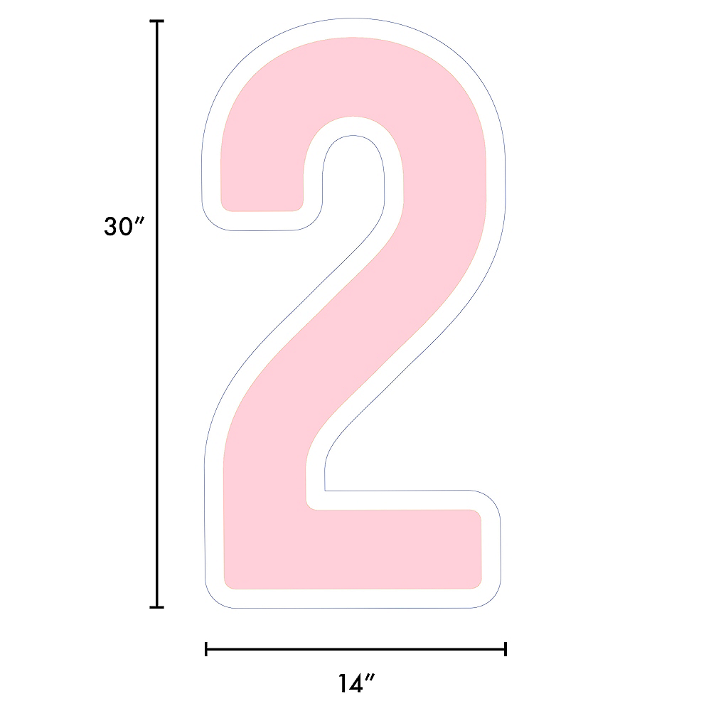 Giant Blush Pink Corrugated Plastic Number (2) Yard Sign, 30in Image #2