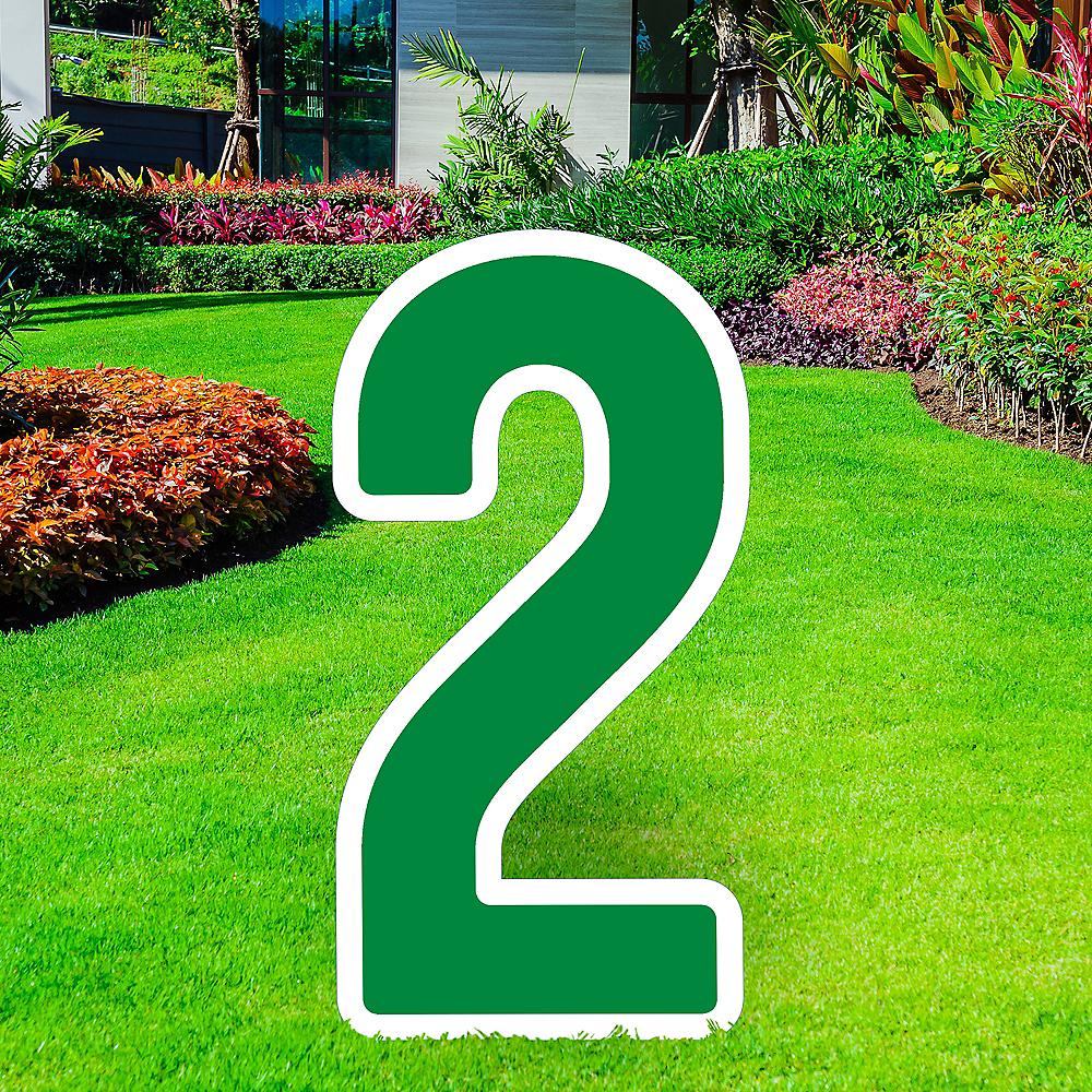 Giant Festive Green Corrugated Plastic Number (2) Yard Sign, 30in Image #1