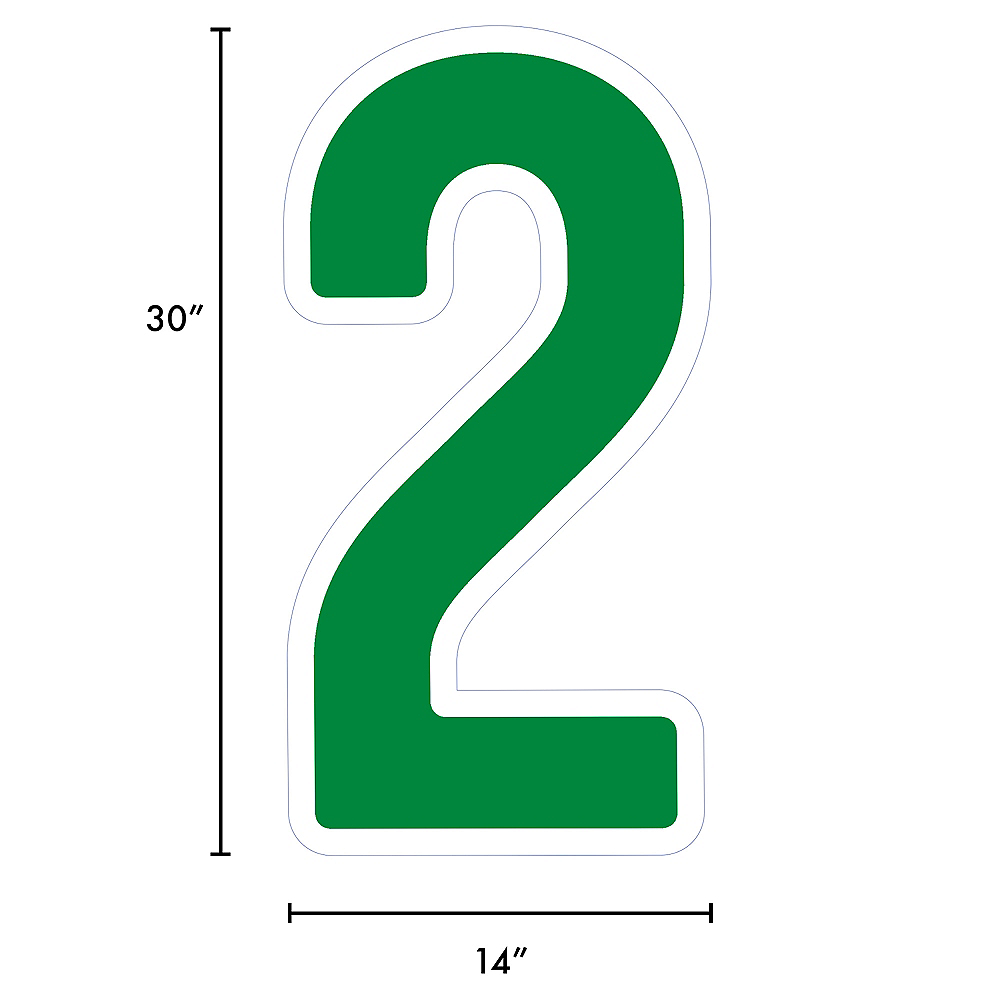 Giant Festive Green Corrugated Plastic Number (2) Yard Sign, 30in Image #2