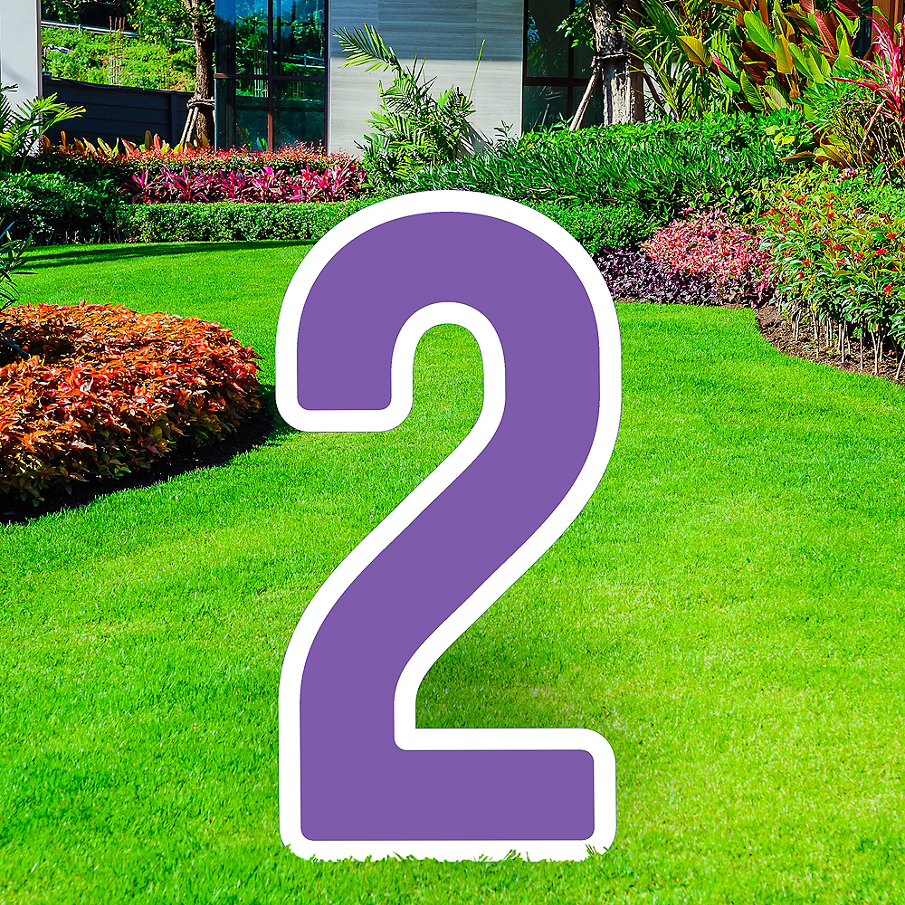 Giant Purple Corrugated Plastic Number (2) Yard Sign, 30in Image #1