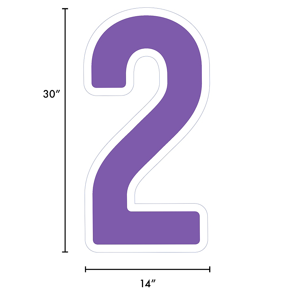 Giant Purple Corrugated Plastic Number (2) Yard Sign, 30in Image #2