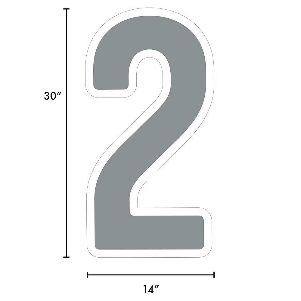 Giant Silver Corrugated Plastic Number (2) Yard Sign, 30in Image #2
